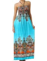 Summer Dress - Paisley Graphic Print Beaded Halter Smocked Bodice Maxi / Long Dress ( Blue + 7 Colors )