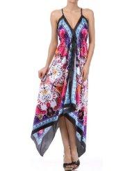 Flower and Leaves Print Satin Pleated V-Neck Halter Handkerchief Hem Maxi / Long Dress ( 2 Colors ) - Womens Summer Dress