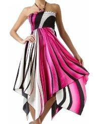 Summer Dress - Swirl Design Satin Feel Beaded Halter Smocked Bodice Handkerchief Hem Dress (2 Colors)