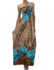 Rose and Zebra Graphic Print Beaded Halter Smocked Bodice Maxi / Long Dress ( 2 Colors ) - Womens Summer Dress