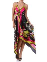 Summer Dress - Floral Cherry Design Silk Feel Handkerchief Hem Criss Cross Back Adjustable Maxi / Long Dress ( 2 Colors )