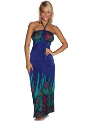 Alki'i Peacock Print Casual Evening Party Cocktail Long Maxi Dress - Womens Summer Dress