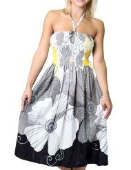 One-size-fits-all Tube Dress/Coverup - Black Floral Print - Womens Summer Dress