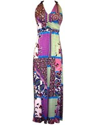 Summer Dress - Print Stretch Jersey Maxi Dress with Beaded Accents Junior Plus Size