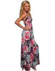 Sexy Halter Designer Gown Multi Color Print Stretch Surplice Womens Long Maxi Dress - Womens Summer Dress