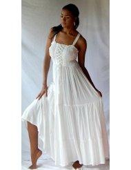 WHITE DRESS SMOCKED ELASTIC RUFFLED Sundress FITS - M L XL 1X 2X
