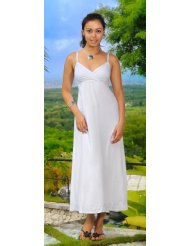 Women's Long Summer Embroidered Sundress by 1 World Sarongs in White - Lined