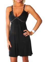 Summer Dress - Alki'i Studded Spaghetti Strap Casual Evening Party Cocktail Dress