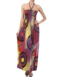 Summer Dress - Multi Color Round Dials Print Beaded Halter Smocked Bodice Long / Maxi Dress ( 4 Colors ) - Clearance Sale !