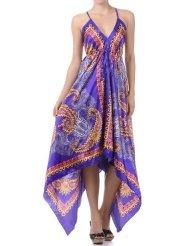 Paisley Print Satin Pleated V-Neck Halter Handkerchief Hem Maxi / Long Dress ( 2 Colors ) - Womens Summer Dresses