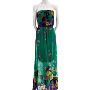 Cheap Summer Dress - Paris Chiffon Floral Flowy Strapless Layered Lined Empire Waist Dress