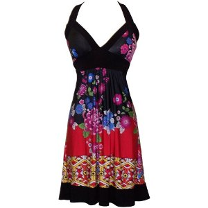 Summer Dresses on Sale - Asian Floral Halter Dress Knee-Length