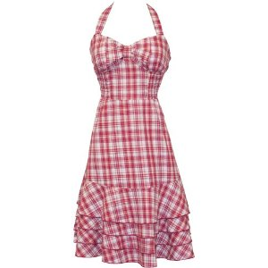 Summer Dresses on Sale - Rockabilly Plaid Halter Sundress