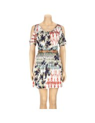 Cheap Summer Dresses - FULL TILT Cold Shoulder Ethnic Dress