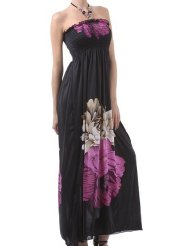 Two Flowers on Solid Black Graphic Print Beaded Halter Smocked Bodice Long / Maxi Dress ( 3 Colors ) - Clearance Sale ! - Discount Summer Dresses