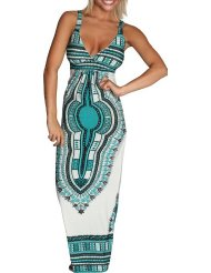 Cheap Summer Dresses - Alki'i African Print Casual Evening Party Cocktail Long Maxi Dress