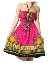 Low Cost Summer Dresses - One-size-fits-all Tube Dress/Coverup with African Print
