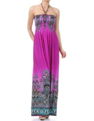 Low Cost Summer Dresses - Paisley Graphic Print Beaded Halter Smocked Bodice Maxi / Long Dress ( 7 Colors )