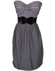Black White Grey Belted Stripe Tube Dress Plus Size - Low Cost Summer Dresses