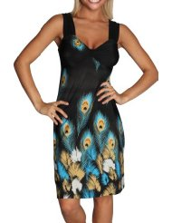 Alki'i Peacock Feather Print Casual Evening Party Cocktail Dress - Cheap Summer Dresses