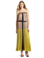 Long Summer Dress - BCBGMAXAZRIA Women's Lilyan Pleated Colorblocked Strapless Maxi Dress