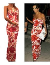 Eva Longoria's Dress Print Long Full Evening Strapless Stretchy - Long Summer Dresses