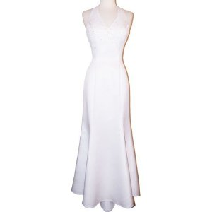 Summer Wedding Dress - Bridal Satin Beaded Halter Gown Holiday Wedding Dress