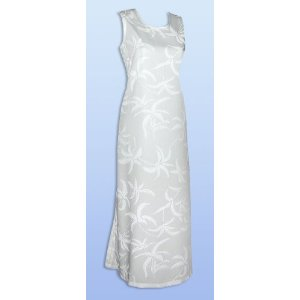 Summer Wedding Dress - Hurricane A Shape Bias Cut Side Slits Hawaiian Aloha Long Tank Dress in Wedding White